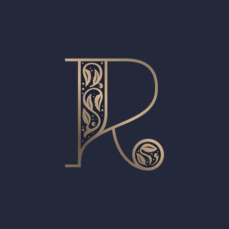 Vintage R letter logo with premium decoration. Classic line serif font. Vector icon perfect to use in any alcohol labels, glamour posters, luxury identity, etc.