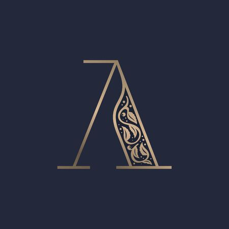 Vintage A letter logo with premium decoration. Classic line serif font. Vector icon perfect to use in any alcohol labels, glamour posters, luxury identity, etc.