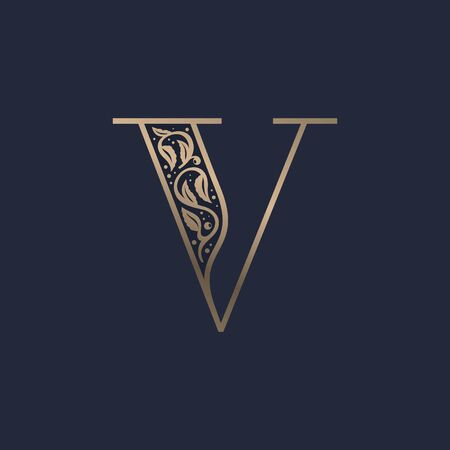Vintage V letter logo with premium decoration. Classic line serif font. Vector icon perfect to use in any alcohol labels, glamour posters, luxury identity, etc.