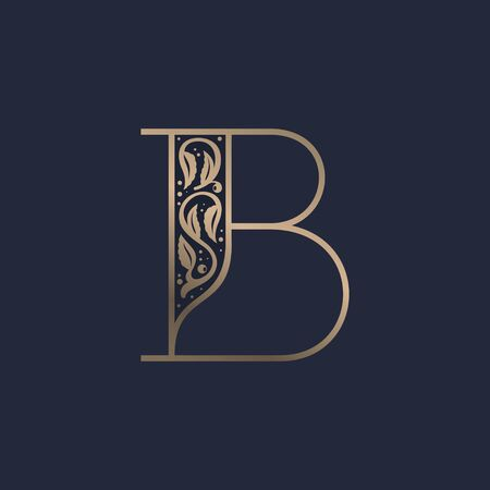 Vintage B letter logo with premium decoration. Classic line serif font. Vector icon perfect to use in any alcohol labels, glamour posters, luxury identity, etc. Illusztráció