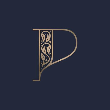 Vintage P letter logo with premium decoration. Classic line serif font. Vector icon perfect to use in any alcohol labels, glamour posters, luxury identity, etc.