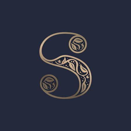 Vintage S letter logo with premium decoration. Classic line serif font. Vector icon perfect to use in any alcohol labels, glamour posters, luxury identity, etc.