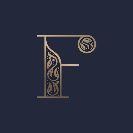 Vintage F letter logo with premium decoration. Classic line serif font. Vector icon perfect to use in any alcohol labels, glamour posters, luxury identity, etc. Illusztráció