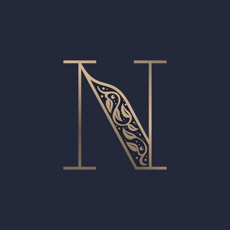Vintage N letter logo with premium decoration. Classic line serif font. Vector icon perfect to use in any alcohol labels, glamour posters, luxury identity, etc.
