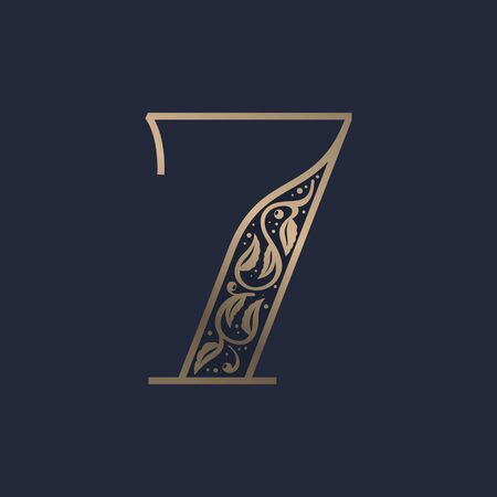Vintage number seven logo with premium decoration. Classic line serif font. Vector icon perfect to use in any alcohol labels, glamour posters, luxury identity, etc.