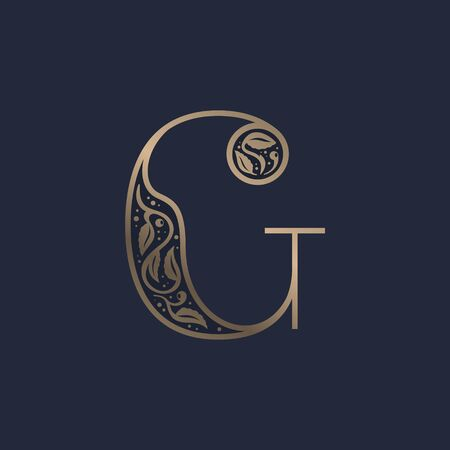 Vintage G letter logo with premium decoration. Classic line serif font. Vector icon perfect to use in any alcohol labels, glamour posters, luxury identity, etc.