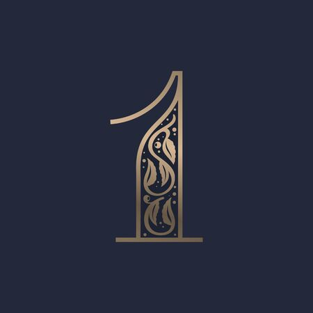 Vintage number one logo with premium decoration. Classic line serif font. Vector icon perfect to use in any alcohol labels, glamour posters, luxury identity, etc. Illusztráció
