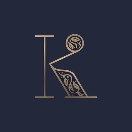 Vintage K letter logo with premium decoration. Classic line serif font. Vector icon perfect to use in any alcohol labels, glamour posters, luxury identity, etc.