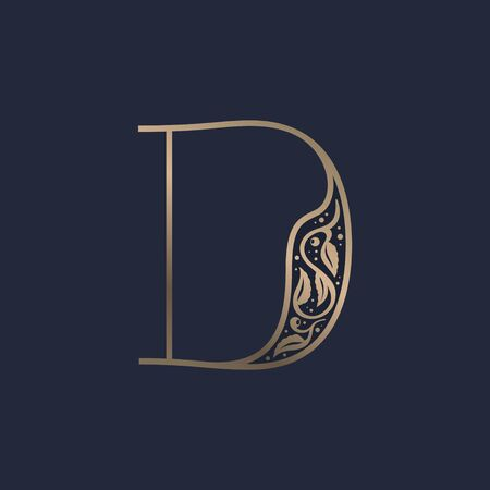 Vintage D letter logo with premium decoration. Classic line serif font. Vector icon perfect to use in any alcohol labels, glamour posters, luxury identity, etc. Illusztráció