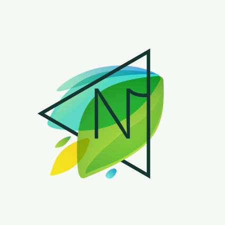 N letter logo in triangle frame at green leaves watercolor background. Vector ecology typeface for botanical labels, landscape headlines, recycle posters, organic cards etc.