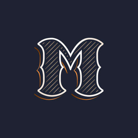 Vintage M letter logo with line decoration. Classic serif lettering. Vector font perfect to use in any alcohol labels, retro style posters, luxury identity, etc.