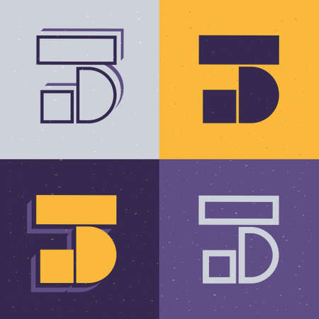 Stencil number three logo set. Flat icons perfect to use in any military labels, sport logos, graffiti posters, construction identity, etc. Logo