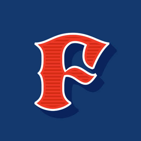 Classic style F letter Sport logo. Retro font perfect to use in any team labels, baseball logos, college posters, tackle identity, etc.