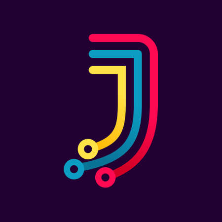 J letter formed by electric line. Font style, vector design template elements for your application or corporate identity. Ilustración de vector