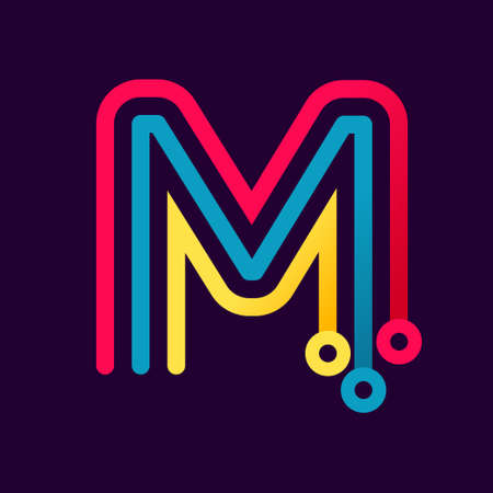 M letter formed by electric line. Font style, vector design template elements for your application or corporate identity. Vektorové ilustrace