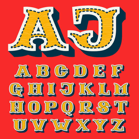 Sports team alphabet in tackle twill style. Embroidered serif font for university uniform, baseball champion posters and vintage basketball identity.