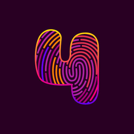 Number four fingerprint colorful logo. Typeface for casino labels, nightlife headlines, bright posters, detective cards, biometric access etc.