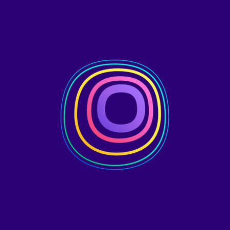 Colorful line O letter logo. This icon made of stroke can be used for a nightlife advertising, cartography art, modem identity, etc.