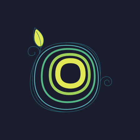 Green line O letter logo with swirl petals and leaf. This font made of stroke can be used for a ecology advertising, agriculture art, botanical identity, etc.