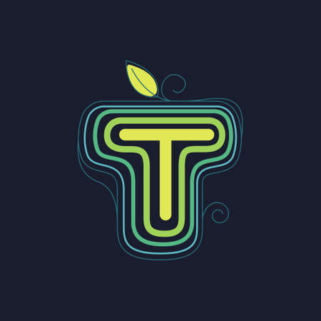 Green line T letter logo with swirl petals and leaf. This font made of stroke can be used for a ecology advertising, agriculture art, botanical identity, etc.
