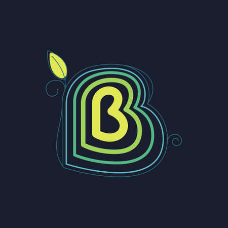 Green line B letter logo with swirl petals and leaf. This font made of stroke can be used for a ecology advertising, agriculture art, botanical identity, etc.