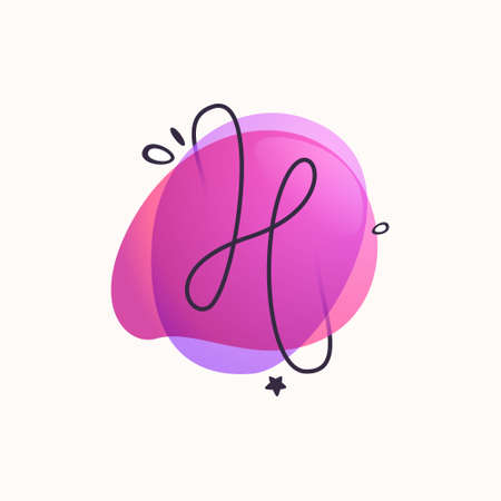 H letter logo on colorful fluid watercolor abstract shape background. Gradient overlapping style typeface can be used for ads banners, web design, modern identity, etc.