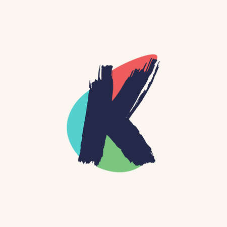 Kid style K letter logo handwritten with dry brush and watercolor spots. Perfect for cartoon ads, festal poster, cute identity, etc. Logo