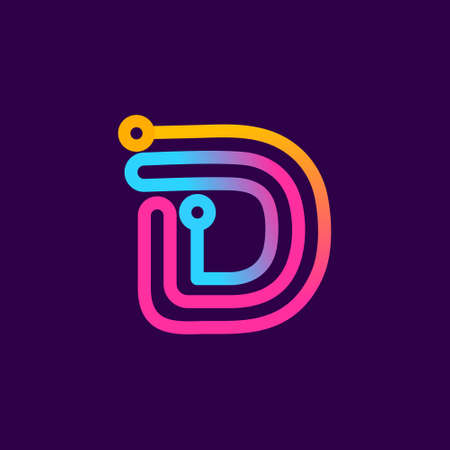 Multicolor D letter logo made of electric wire. This rounded striped icon can be used for tech ads, solder posters, energy company identity, etc.
