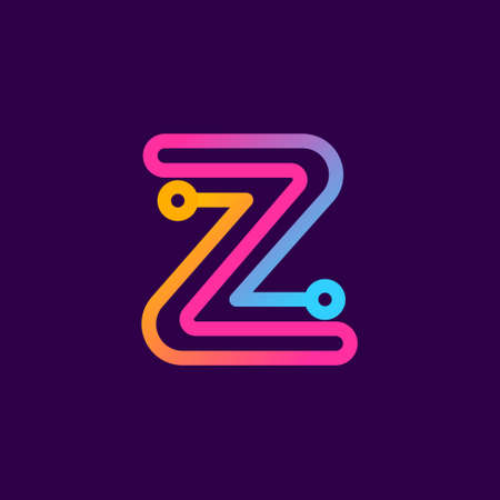 Multicolor Z letter logo made of electric wire. This rounded striped icon can be used for tech ads, solder posters, energy company identity, etc. Illustration