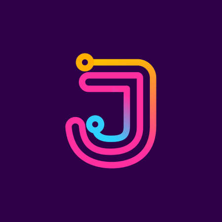 Multicolor J letter logo made of electric wire. This rounded striped icon can be used for tech ads, solder posters, energy company identity, etc.