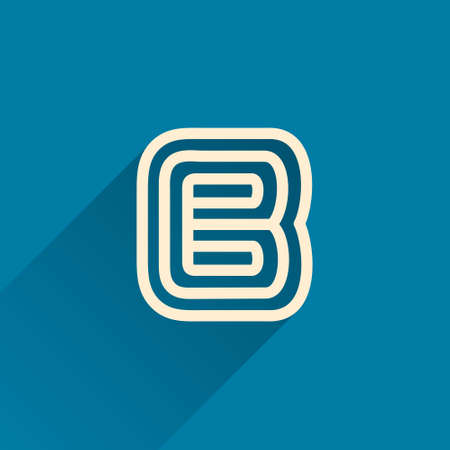 Maze B letter logo made of three parallel lines. Flat vector design can be used for jigsaw ads, right choice poster, tech identity, etc.