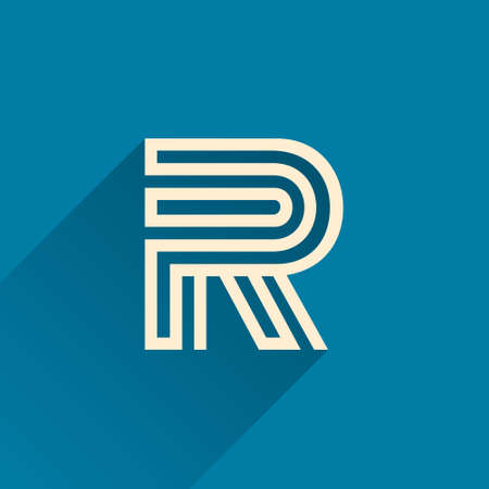 Maze R letter logo made of three parallel lines. Flat vector design can be used for jigsaw ads, right choice poster, tech identity, etc.