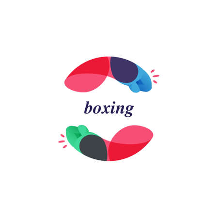 Multicolor overlapping boxing hands in a circle logo. Perfect for a fight advertising, sport labels, rebel identity, etc.