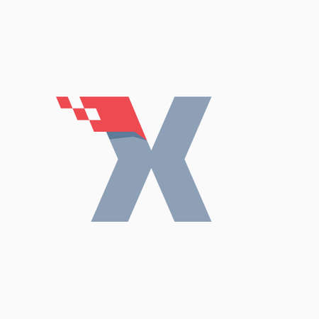 X letter logo with taxi checkered pattern line. Perfect for transport company advertising, sportswear sign, furious identity, etc.