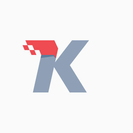 K letter logo with taxi checkered pattern line. Perfect for transport company advertising, sportswear sign, furious identity, etc.