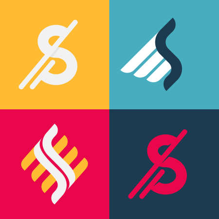 Letter S fast speed winged logo set. Flat vector design can be used for delivery ads, technology poster, sport identity, etc.