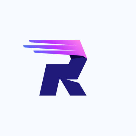 R letter  with fast speed lines or wings. Corporate branding identity design template with vivid gradient. Can be used for delivery ads, technology poster, sport identity, etc. Illusztráció