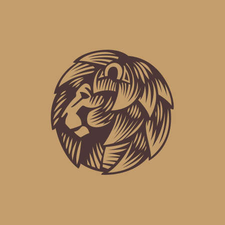 Lion head retro engraved emblem. Classic mascot for book stamp, movie label, sport team logo, africa poster etc.