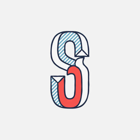 Vector condensed retro S letter logo with striped shadows. Perfect to use in retro identity, patriotic emblem, July 4th posters, original history design, and others.