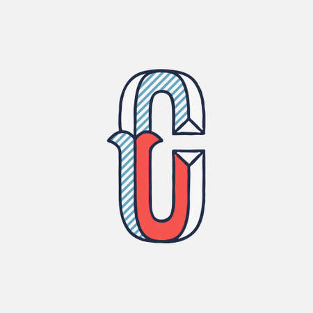 Vector condensed retro C letter logo with striped shadows. Perfect to use in retro identity, patriotic emblem, July 4th posters, original history design, and others.