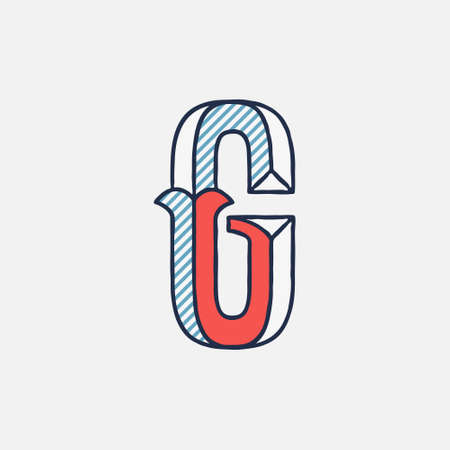 Vector condensed retro G letter logo with striped shadows. Perfect to use in retro identity, patriotic emblem, July 4th posters, original history design, and others.