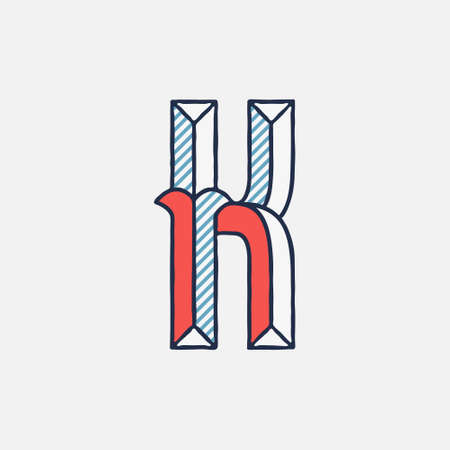 Vector condensed retro K letter logo with striped shadows. Perfect to use in retro identity, patriotic emblem, July 4th posters, original history design, and others.
