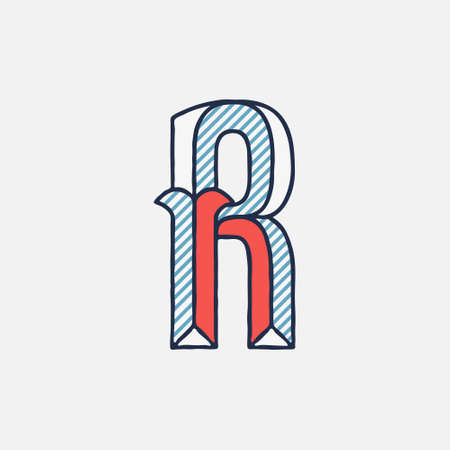 Vector condensed retro R letter logo with striped shadows. Perfect to use in retro identity, patriotic emblem, July 4th posters, original history design, and others.