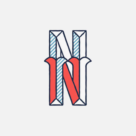 Vector condensed retro N letter logo with striped shadows. Perfect to use in retro identity, patriotic emblem, July 4th posters, original history design, and others.