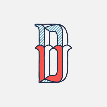 Vector condensed retro D letter logo with striped shadows. Perfect to use in retro identity, patriotic emblem, July 4th posters, original history design, and others. Çizim