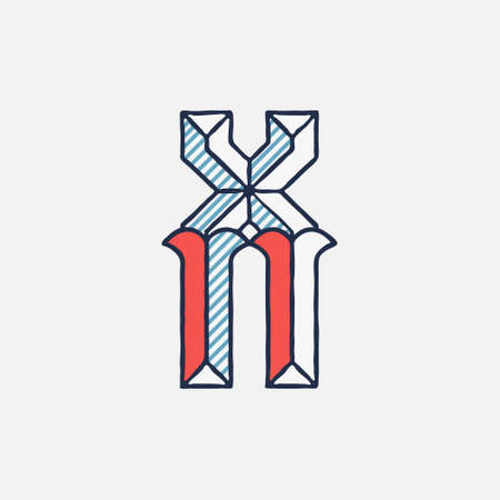 Vector condensed retro X letter logo with striped shadows. Perfect to use in retro identity, patriotic emblem, July 4th posters, original history design, and others.