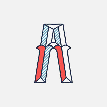 Vector condensed retro A letter logo with striped shadows. Perfect to use in retro identity, patriotic emblem, July 4th posters, original history design, and others.