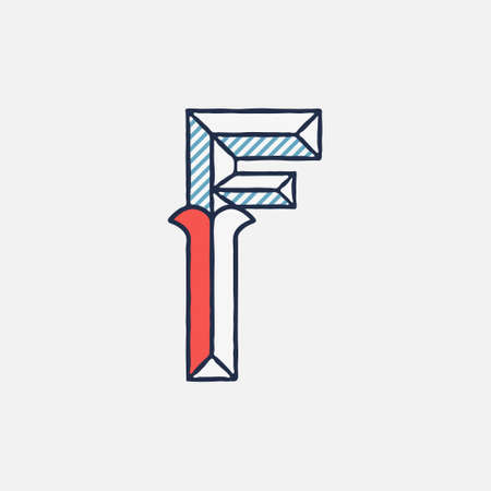Vector condensed retro F letter logo with striped shadows. Perfect to use in retro identity, patriotic emblem, July 4th posters, original history design, and others.