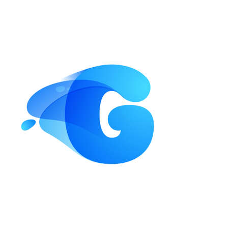 G letter logo made of clear water and dew drops. You can use it in your eco friendly identity, organic emblem, blue watercolor design and others.