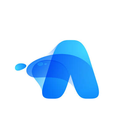 Letter A logo made of clear water and dew drops. You can use it in your eco friendly identity, organic emblem, blue watercolor design and others.